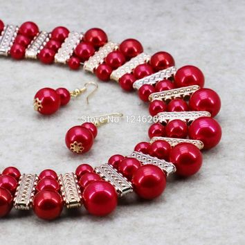 Imitation Pearl Necklaces&Earrings Sets Chain Red Round Beads 3Row Fashion Jewelry Making Design For Women Girls Gifts 18inch