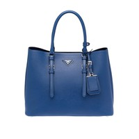 Prada Saffiano Leather Tote Handbag Bluette