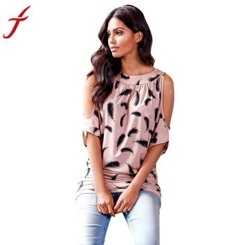 Batwing Sleeves Blouse Tops Women Feather Printed Polyester Casual