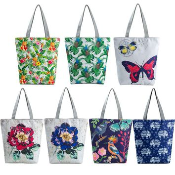 Tropical Summer Designs Pineapple, Butterfly, Parrot Shoulder Beach Purse Canvas Handbags Totes Bags