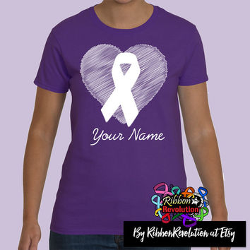 Heart Ribbon Purple Shirts For Cystic Fibrosis, Epilepsy, Fibromyalgia, GIST Cancer, ITP, Leiomyosarcoma, Lupus and More