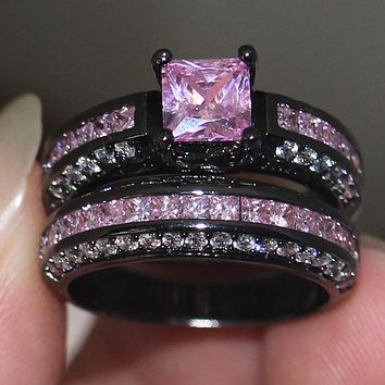 Handmade wedding band rings Set for women 5A Pink Zircon stone Cz 10KT Black Gold Filled Female Anniversary Ring