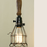 Vintage Rustic Primitive Industrial Wire Trouble Pendant Hanging Light Steampunk