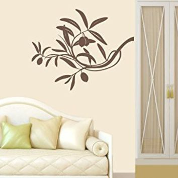 Wall Decal Vinyl Sticker Decals Art Decor Design Olova Branch Tree Kitchen Corner Leaves Flower Plants foliage Dorm Bedroom Fashion (r 682)