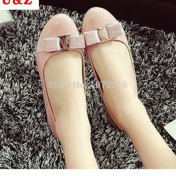Spring summer 2016 Lovely patent leather satin bow flats shoes & Block heels Black/Nav