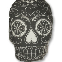 White Sugar Skull Pillow