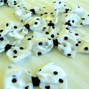 12 WHITE Craft Bow with Black Pokka Dots - 6cm wide