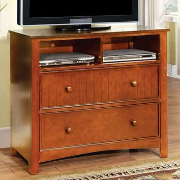 Transitional Style Wooden Media Chest, Oak Brown