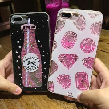 SoCouple Diamond Drink bottle Guicksand Case for iphone 7 7Plus 8 8plus Dynamic liquid glitter Case For iphone 6 6s 6Plus