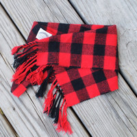 BRAVE BUFFALO Plaid Cashmere Hipster Scarf/Bandana/Bib With Fringe and Snap Closure
