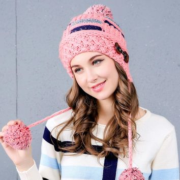 New arrival winter caps three hair balls hats velvet knitted thicken beanie gorro bonnet femme skullies outdoor ski ear warm