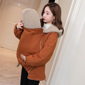 7003# Winter Maternity Outerwear Coat Baby Carrier Kangaroo Jacket Clothes for Pregnant Woman Thicken Berber Fleece Pregnancy