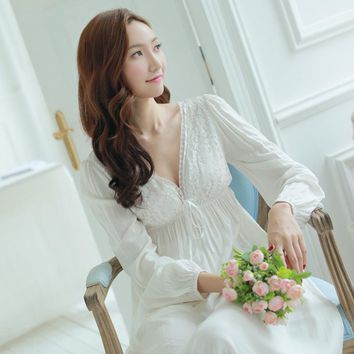 New Spring Night Dress Vintage Nightgowns V-neck Ladies Dresses Princess White Sexy Sleepwear Lace Home Dress Long Nightwear
