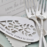 Mr & Mrs WEDDING Cake forks with Forever Starts by jessicaNdesigns
