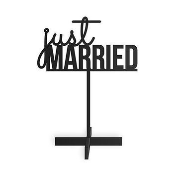 Just Married Acrylic Sign - Black (Pack of 1)