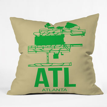 Naxart ATL Atlanta Poster 1 Throw Pillow