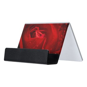 Red Rose Desk Business Card Holder