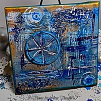 Shades of Blue Mixed Media Canvas Board. Ready to Ship