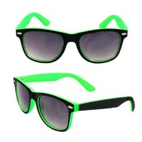 MLC Eyewear Wayfarer Fashion Sunglasses 351GN Black with Rubber Coatin Green Frame Nerd Vintage Sunglasses