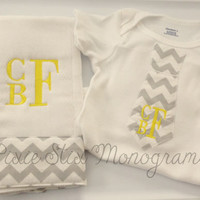 Baby Boy Monogrammed Tie Onesuit and Burpcloth- Great Baby Shower Gift- Chevron