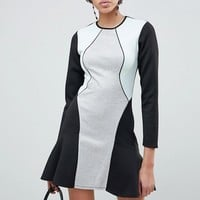 ASOS DESIGN Color Block Pephem Shift Dress at asos.com