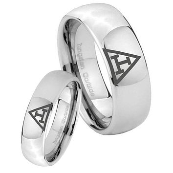 His Her Classic Mirror Dome Masonic Triple Tungsten Carbide Silver Rings Set