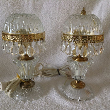 Set Of 2 French Boudior Pee Dome Crystal Prism Chandelier Table Lamps Pair Made In France