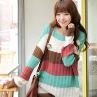 Long Style Colorful Stripe Girls Sweaters Blue