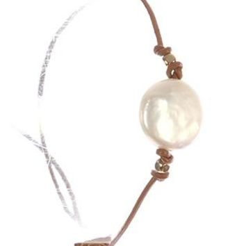Pearl Charm Adjustable Rubber Cord Knotted Metallic Bead Braclet