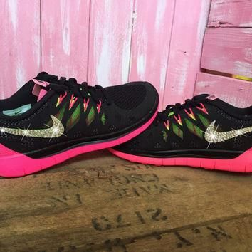 SIZE 6.5 Blinged Womens Nike Free 5.0 Running Shoes Black Pink Customized With Swarovs