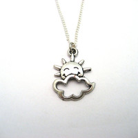 Cloud Necklace Sun Necklace Cloudy Day Necklace Perfect Day In the Garden Sunshine Necklace Cloud Jewelry  Cheerful Neclace  Sun Shine