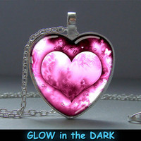 Glowing Pendant Pink Heart, Pendant Glow in the DARK, Glowing Jewelry, Glowing Necklace, Glowing Photo