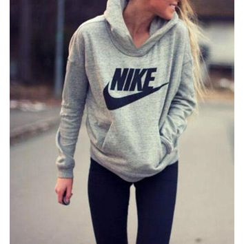 FREE SHIPPING NIKE Women Fashion Hooded Top Pullover Sweater Sweatshirt