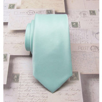 Beach Glass Mens Ties. Necktie Inspired by Donna Morgan's Beach Glass Seafoam Blue Silk Skinny Tie With Matching Pocket Square Option