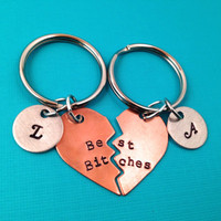 Best Bitches Hand Stamped Broken Heart With Initials Keychain Set- In Brass, Copper, or Aluminum