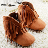 2016 new arrival baby toddler pre walker high top fringe boy girl boots cowboy soft sole shoes size 3-6 6-12 12-18month BS01