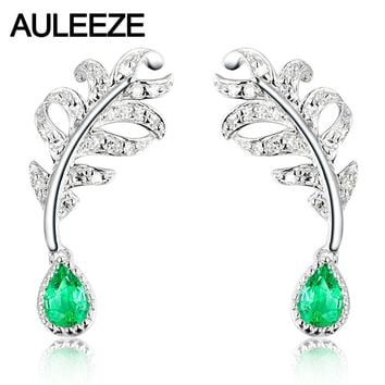 14KT White Gold Feather Real Diamond Natural Emerald Pear Earrings