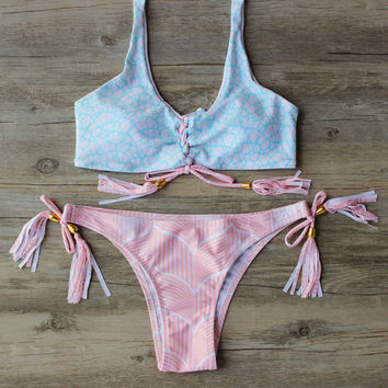 Sexy Summer Beach Pink Bandage Swimwear Set Swimwear Swimsuit