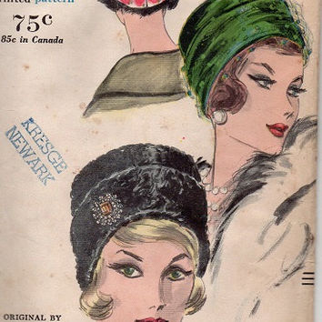Vintage Vogue Sewing Pattern 1960s Designer Federics Turban Hat
