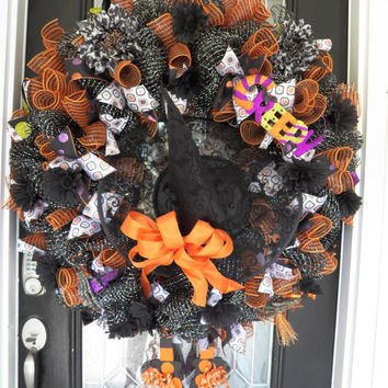 One of a Kind, XL Wicked Witch Halloween Wreath, Halloween Decoration, Witch Wreath, Deco Mesh, Whimsical