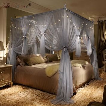 LeRadore Mosquito Net Palace Net Aluminum Alloy Frame Floor Nets RomanticLight Belt Bed Netting Curtain Moustiquaires Queen King