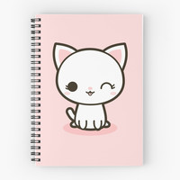'Kawaii white cat' Spiral Notebook by peppermintpopuk