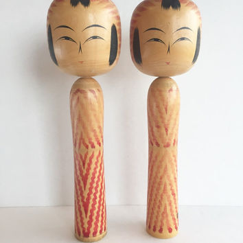 Vintage Large Collectible Togatta Makume Kokeshi Doll Signed by Kazuo Sato