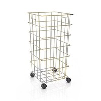 Brass Wire Hamper with Wheels