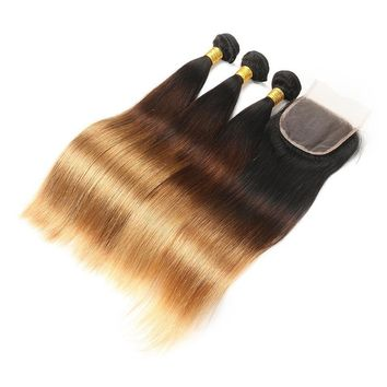 Remy Human Straight Hair With Closure