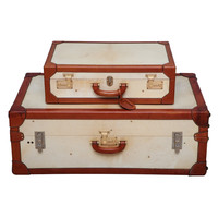 Vintage Vellum Trunk and Suitcase by T. Anthony, NY