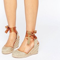 ASOS JUICIER Tie Leg Espadrille Wedges at asos.com