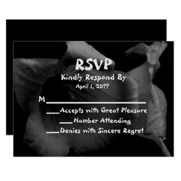 Monochrome Floral Wedding RSVP Card