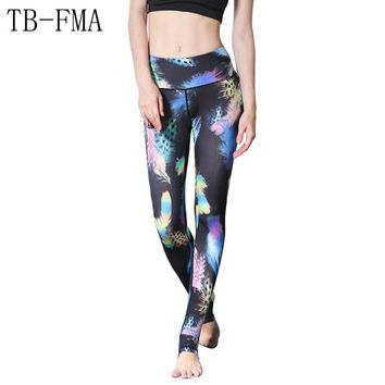 2017 New Women Floral Print pants women sportswear High Waist Compression Yoga Pants Wide Waistband Quick Dry Workout Yoga