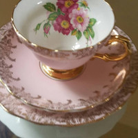 Bone china ROSINA trio/stunning pastel pink with gold florals/tea cup saucer and tea plate/English china /ships worldwide from UK